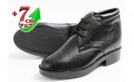 ビジネス 本革 革靴 カジュアル デザートブーツ 紳士靴  7cmアップ シークレットブーツ No.350 ブラック