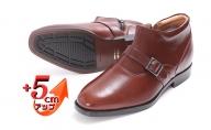 ビジネスシューズ 紳士靴 革靴 ベルト チャッカーブーツ 5cm シークレットブーツ 4E ワイド No.750 ブラウン