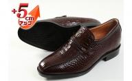 クロコ調牛革 ビジネスシューズ 紳士靴 5cm シークレットシューズ 4E ワイド No.636 ブラウン