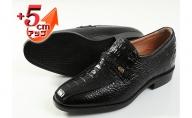 クロコ調牛革 ビジネスシューズ 紳士靴 5cm シークレットシューズ 4E ワイド No.636 ブラック