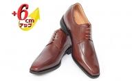ビジネスシューズ 本革 革靴 紳士靴 牛革キップ 外羽根 スワローモカ 6cmアップ シークレットシューズ No.1976 ブラウン