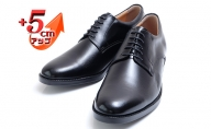 ビジネスシューズ 本革 革靴 紳士靴 外羽根プレーン 5cmアップ シークレットシューズ ワイド No.1693 ブラック