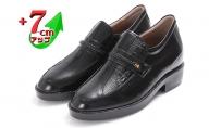 ビジネスシューズ 本革 革靴 カンガルー革 紳士靴 デザインモカ 7cmアップ シークレットシューズ No.235 ブラック