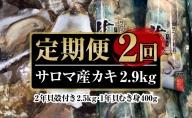 オホーツクサロマ産カキ2年貝殻付き約2.5kg・1年貝むき身400g 2回定期便