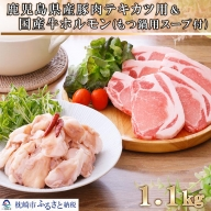 AA-367 鹿児島県産豚テキカツ用&国産牛ホルモン(もつ鍋スープ付)