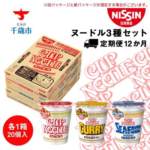 【定期便12か月】日清ヌードル3種セット 各1箱(20食)合計3箱