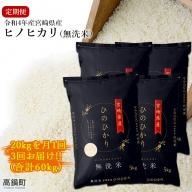 <令和2年産宮崎県産ヒノヒカリ(無洗米)20kg 3か月定期便>