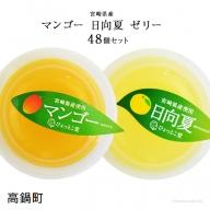 <宮崎県産マンゴーゼリー・日向夏ゼリー 合計48個セット>