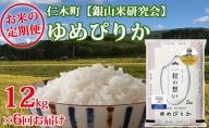 6ヶ月連続お届け【ANA機内食に採用】銀山米研究会のお米<ゆめぴりか>12kg