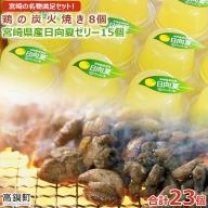 <宮崎の名物満足セット!宮崎県産日向夏ゼリー15個、鶏の炭火焼8個セット>