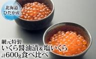 北海道ひだか産網元特製【いくら醤油漬&塩いくら】計600g食べ比べ
