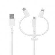 3 in 1 Lightningアダプター&USB Type-Cアダプター付き (2m) USB Type-A to microUSB 超タフストロング ストレートケーブル OWL-CBKMLCR20-WH