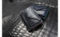 【2636-0379】クロコ カルムミニウォレット/三つ折財布 革 クロコダイル
