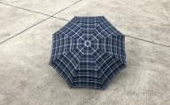 【 かさ 】高級雨傘 格子柄 駒取り 58cm[紺色](共袋付)男女共用 1本