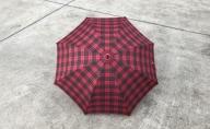 【 かさ 】高級雨傘 格子柄 駒取り 58cm[赤色](共袋付)男女共用 1本