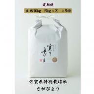 L−040.【定期便5回】特別栽培米さがびより玄米計50kg
