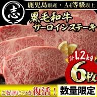 c0-040 【志布志の日限定】鹿児島県産黒毛和牛サーロインステーキ 計1.2kg(200g×6枚)