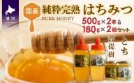 国産純粋完熟はちみつ(とち・菩提樹) 500gx2本・180gx2瓶セット[B16-916]