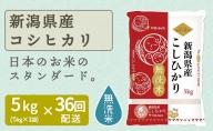 新潟県産コシヒカリ 無洗米 5kg ※36回定期便 安心安全なヤマトライス H074-232