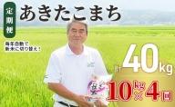 令和2年産 土づくり実証米 あきたこまち定期便(10kg×4回) 計40kg 精米 4ヵ月 4ヶ月 4カ月 4ケ月