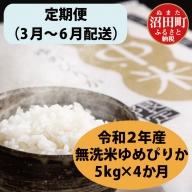 【定期便】 北海道 ゆめぴりか 無洗米 5kg 【3月~6月・4か月お届け】 令和2年産 雪中米