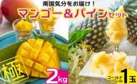 【2021年発送】南国気分をお届け!完熟マンゴー極2kg&ゴールドパイン1玉セット