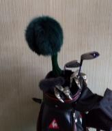 ゴルフ ヘッドカバー ドライバー用 フォレスト グリーン ブルー フォックス / 毛皮 取外し簡単